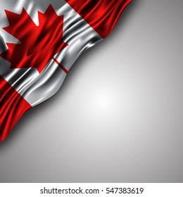 canadian waving silky flag isolated on gray background, can be used in many topic like national day,canada independence day and any national and international events