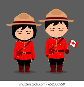 Canadians in national dress with a flag. Royal Canadian Mounted Police. Man and woman in traditional costume. Travel to Canada. People. Vector flat illustration.