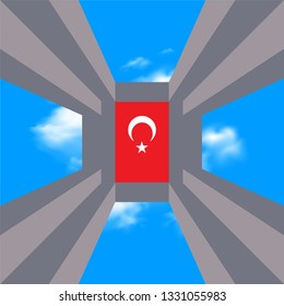 Canakkale Battle of Martyrs Monument and Turkish Flag. 18 mart canakkale zaferi vector illustration. (18 March, Canakkale Victory Day Turkey)