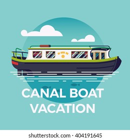 Canal boat vacation concept illustration with narrowboat in flat design. Recreational waterway travel, vacation journey, leisure cruise river trip background