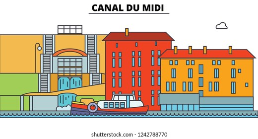 Canal Du Midi  line travel landmark, skyline, vector design. Canal Du Midi  linear illustration.