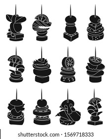 Canape of appetizer black vector illustration on white background .Canape for buffet set icon. Vector illustration cold food.Set icon cold appetizer.