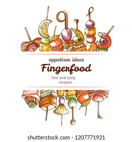 Canape finger food hand drawn restaurant poster. Appetizer ideas, fast and tasty starters for lunch or party. Vector illustration on white background
