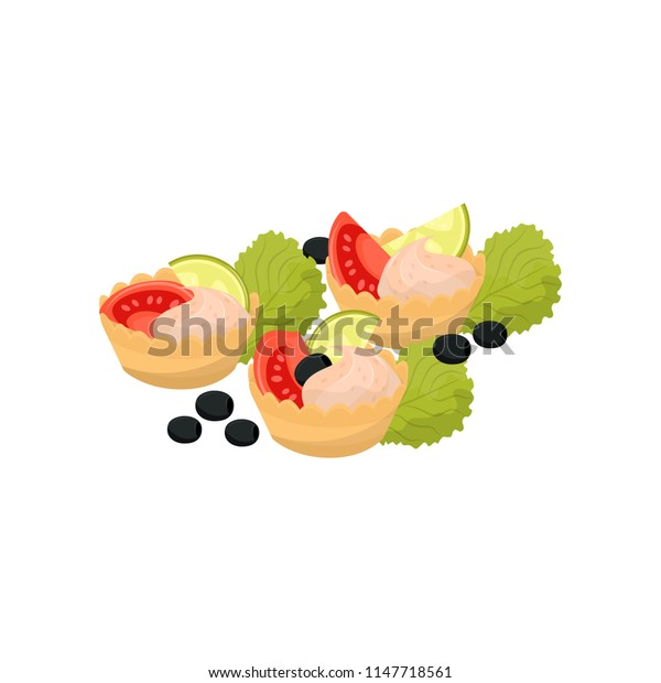 Canape with tomato, cheese cream and lime, banquet snack vector Illustration on a white background