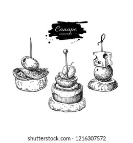 Canape vector drawings. Food appetizer and snack sketch. Finer food for buffet, restaurant, catering service. Tapas engraved illustration. Great for banner, poster, label