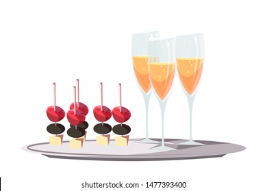 Canapes and champagne flat vector illustration. Gourmet restaurant, prestigious party service. Luxury reception food and drinks, VIP event snacks. Wine glasses and appetizers on serving tray