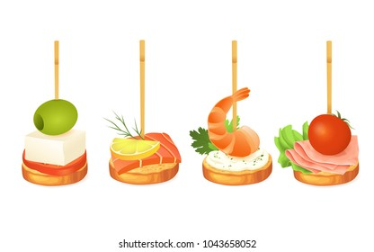 Canapes with different toppings isolated on white. Vector illustration