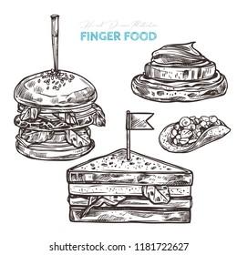 Canapes finger food. Vector sketch hand drawn illustration of mini burger, mini sandwich, potato bites, pancake bites