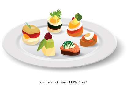 Canapes in white plate