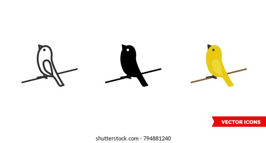Canary icon of 3 types: color, black and white, outline. Isolated vector sign symbol.