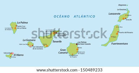 Canary Islands Map Stock Vector (Royalty Free) 150489233 - Shutterstock