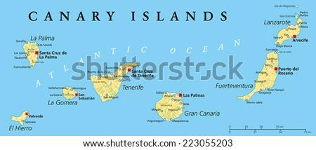 Canary Islands Political Map Lanzarote Fuerteventura Stock Vector ...