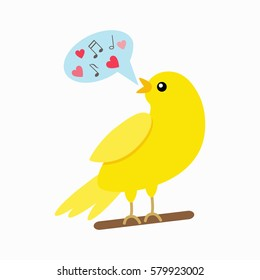 Canary sings. Spring concept. flat vector illustration isolate on a white background