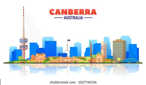 Canberra Australia skyline with panorama in white background. Vector Illustration. Business travel and tourism concept with modern buildings. Image for presentation, banner, web site.