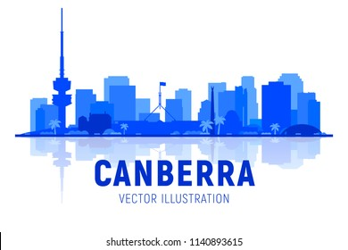 Canberra Australia skyline shiluette with panorama in white background. Vector Illustration. Business travel and tourism concept with modern buildings. Image for presentation, banner, web site.