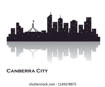 Canberra city skyline silhouette. creative vector graphics