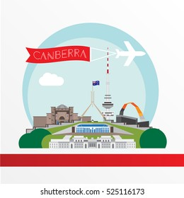 Canberra detailed silhouette. Trendy vector illustration, flat style. Stylish colorful landmarks. Parliament House the symbol of Canberra, Australia