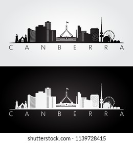 Canberra skyline and landmarks silhouette, black and white design, vector illustration.