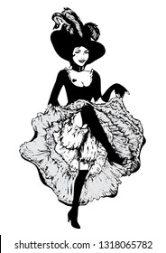 Cancan dancer girl. Vector illustration in vintage engraving style. Dancing woman in laced skirt and hat with feathers isolated on white.