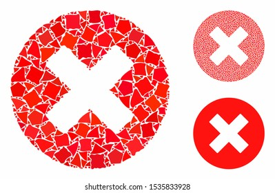 Cancel composition of abrupt items in variable sizes and shades, based on cancel icon. Vector tuberous items are composed into collage. Cancel icons collage with dotted pattern.