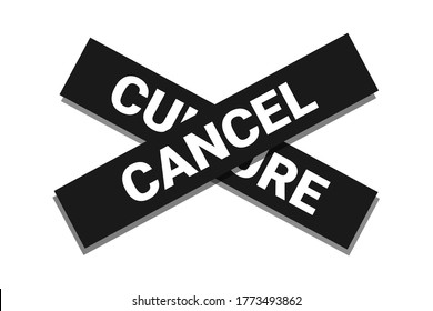 Cancel culture - being nulled, silenced, boycotted, erased and deleted. Vector illustration isolated on white.