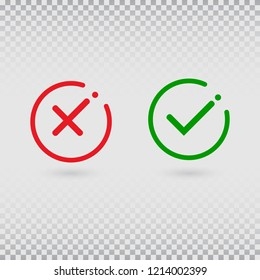 Cancel decline. Check marks set on transparent background. YES or NO accept and decline symbol. Green tick and red cross in circle shapes. Vector icons for internet buttons or web page. Vector