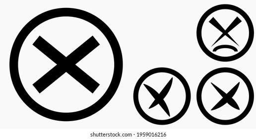Cancel icon. Prohibition of action. Stop procedure. Cancel download. Vector icon.