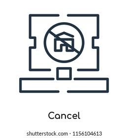 Cancel icon vector isolated on white background, Cancel transparent sign , thin symbols or lined elements in outline style