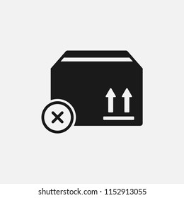 cancel order icon.not reach delivery,cargo isolated vector symbol for web and mobile app on grey background