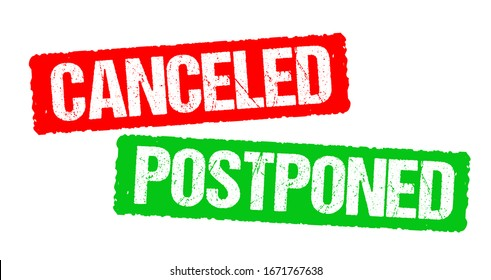 Canceled and postponed stamp vector