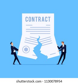 Cancellation of a contract. Vector concept of termination of an agreement. Two man on suit tearing contract. Businessman in workspace. Vector illustration.