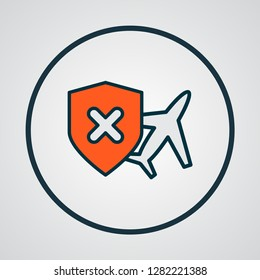 Cancellation insurance icon colored line symbol. Premium quality isolated no travel insurance element in trendy style.