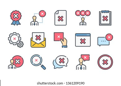 Cancellation related color line icon set. Negative result linear icons. Decline and cancel colorful outline vector sign collection.