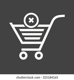 Cancelled, crossed, cart, trolley icon vector image. Can also be used for eCommerce, shopping, business. Suitable for use on web apps, mobile apps and print media.