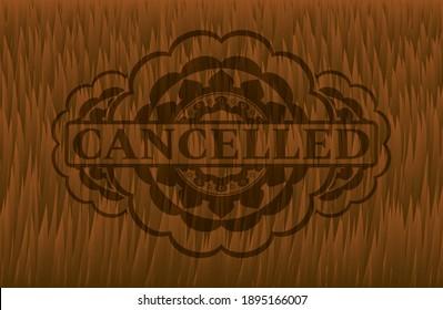 Cancelled text inside Brown fur emblem. Animal delicate background. Intense illustration.
