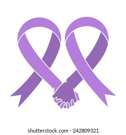 Cancer awareness ribbon, heart and hands together, world cancer day concept, vector illustration