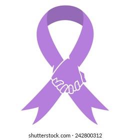 Cancer awareness ribbon, lavender, hands together world cancer day concept, vector illustration