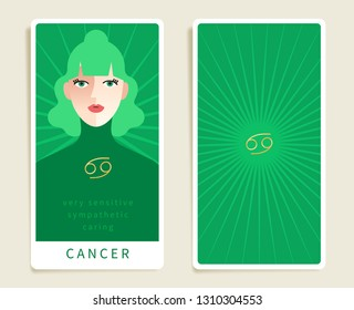 Cancer : Beautiful woman with horoscope sign : Template for tarot cards :Vector Illustration