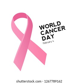 Cancer day logo and pink ribbon