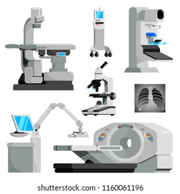 Cancer diagnosis medical equipment flat set,vector illustration.Diagnostic,healthcare treatment,scanning Machines for oncology,mammology hospital or clinic-tomograph,microscope,x-ray,CT,MRI devices