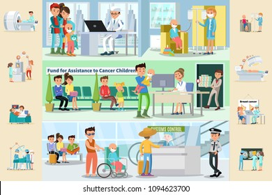 Cancer disease horizontal brochures with medical treatment fund for sick children assistance father with son in wheelchair in airport vector illustration
