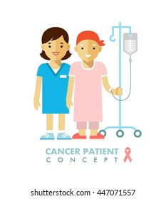 Cancer ill people person concept. Nurse and young patient after chemotherapy on white background