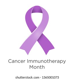Cancer Immunotherapy Month in June. Palliative care. Lavender or violet color ribbon Cancer Awareness Products. Vector illustration. White isolated.