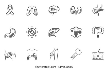 Cancer, Malignant Tumor. Vector Line Icons Set. Oncology, Mammary Gland Cancer, Brain Tumor. Editable Stroke. 48x48 Pixel Perfect.
