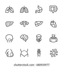 Cancer , Medical and healthcare icons set, Vector line icons