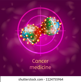 Cancer Medicine Conceptual Vector with Dividing Cancer Cells in Sight Cross Illustration. Detecting and Diagnosis of Oncological Disease, Cancerous Malignant Tumor Treatment and Healing, Chemotherapy