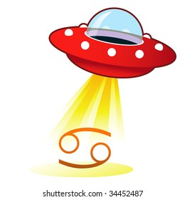 Cancer zodiac astrology sign icon on retro flying saucer UFO with light beam.
