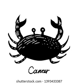 Cancer zodiac hand drawing sign for horoscope. Usable for mystic  occult  palmistry and witchcraft alchemy. Vector.