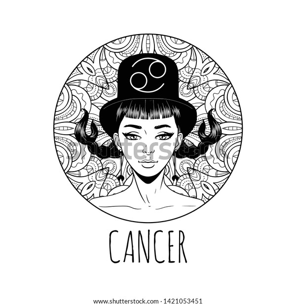 - Cancer Zodiac Sign Artwork Adult Coloring Stock Vector (Royalty Free)  1421053451