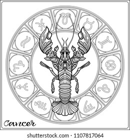 Cancer, Zodiac sign. Astrological horoscope collection. Outline vector illustration. Outline hand drawing coloring page for the adult coloring book.